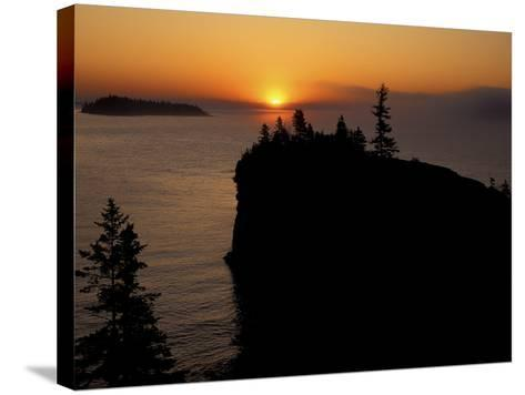 Spring Sunrise Silhouettes Edwards Island and Scoville Point on Lake Superior-Mark Carlson-Stretched Canvas Print