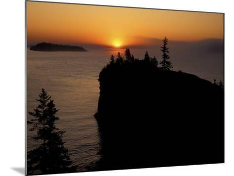 Spring Sunrise Silhouettes Edwards Island and Scoville Point on Lake Superior-Mark Carlson-Mounted Photographic Print