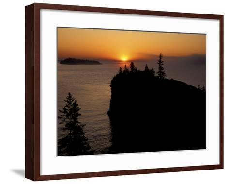 Spring Sunrise Silhouettes Edwards Island and Scoville Point on Lake Superior-Mark Carlson-Framed Art Print