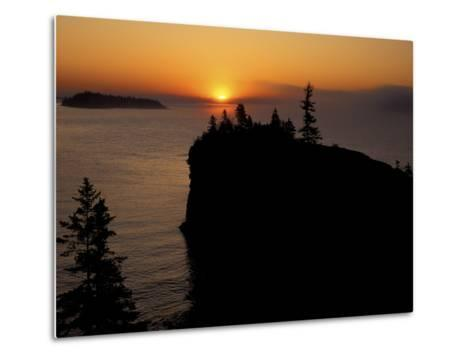Spring Sunrise Silhouettes Edwards Island and Scoville Point on Lake Superior-Mark Carlson-Metal Print