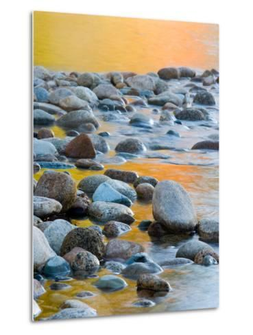 Fall Reflections Among the Cobblestones in the Saco River, White Mountains, New Hampshire, USA-Jerry & Marcy Monkman-Metal Print