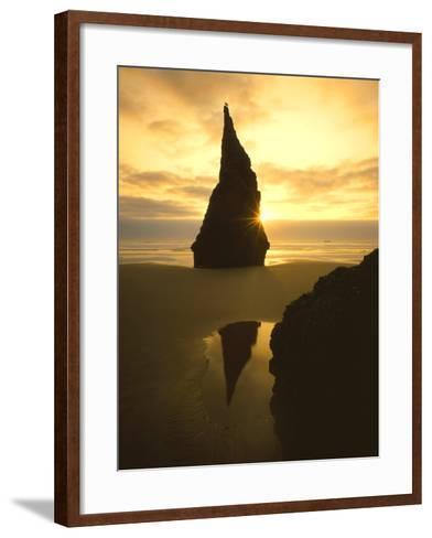 Sunset Silhouettes Seabird Atop Rock Pinnacle, Bandon Beach, Oregon, USA-Steve Terrill-Framed Art Print