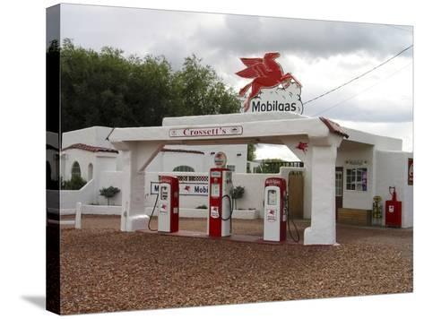 Vintage Mobil Gas Station, Ellensburg, Washington, USA-Nancy & Steve Ross-Stretched Canvas Print