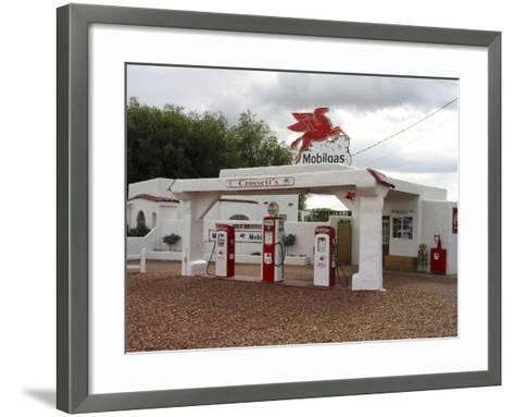Vintage Mobil Gas Station, Ellensburg, Washington, USA-Nancy & Steve Ross-Framed Art Print