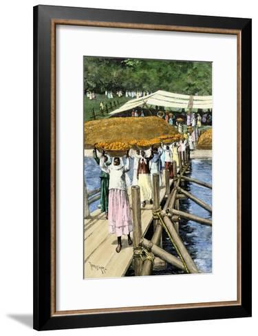 Women Loading Oranges on a Ship at San Antonio, Paraguay, c.1890--Framed Art Print