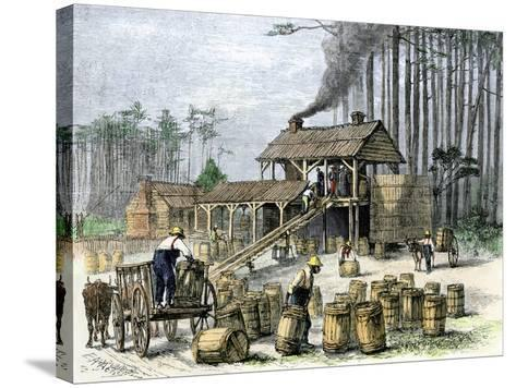 Turpentine Distillery in North Carolina, c.1870--Stretched Canvas Print
