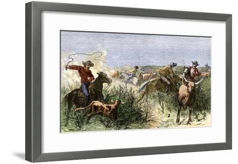 Cowboys Cutting Out Cattle to Drive a Herd from Texas to Kansas, c.1870--Framed Art Print