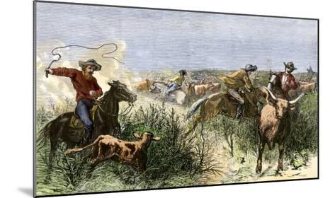 Cowboys Cutting Out Cattle to Drive a Herd from Texas to Kansas, c.1870--Mounted Giclee Print