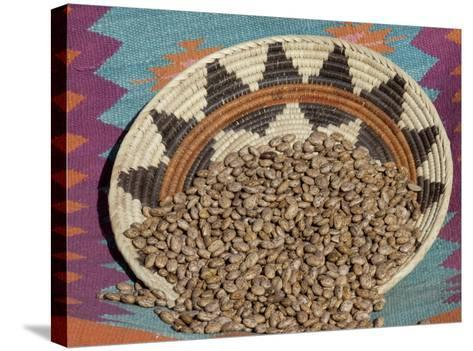 Dried Beans in a Native American Basket--Stretched Canvas Print
