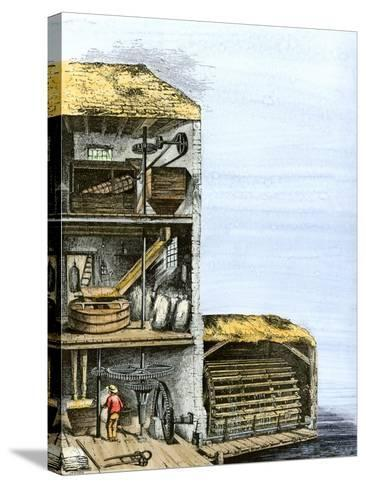 Cutaway View of a Water-Powered Mill for Grinding Grain Into Flour--Stretched Canvas Print