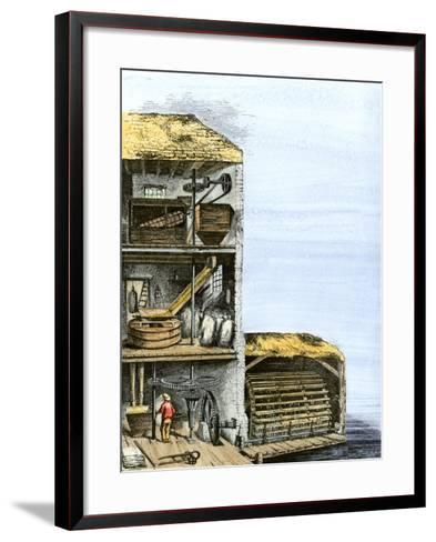 Cutaway View of a Water-Powered Mill for Grinding Grain Into Flour--Framed Art Print