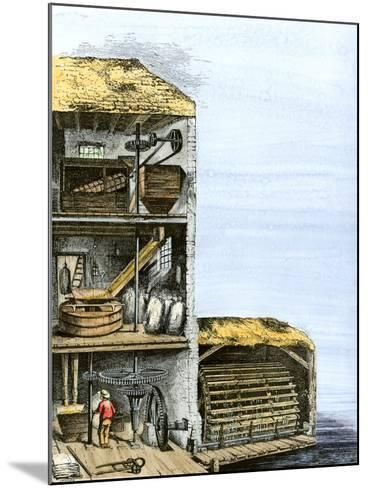 Cutaway View of a Water-Powered Mill for Grinding Grain Into Flour--Mounted Giclee Print