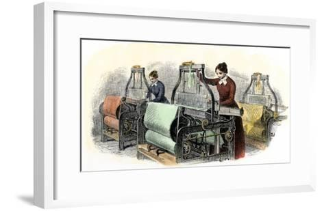 Lowell Girls Weaving in Massachusetts Textile Mills, c.1850--Framed Art Print