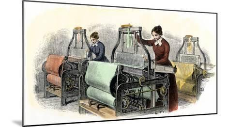 Lowell Girls Weaving in Massachusetts Textile Mills, c.1850--Mounted Giclee Print