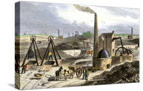 Whimsey Engine Drawing Coal in the Staffordshire Mines, England, c.1850--Stretched Canvas Print