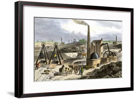 Whimsey Engine Drawing Coal in the Staffordshire Mines, England, c.1850--Framed Art Print