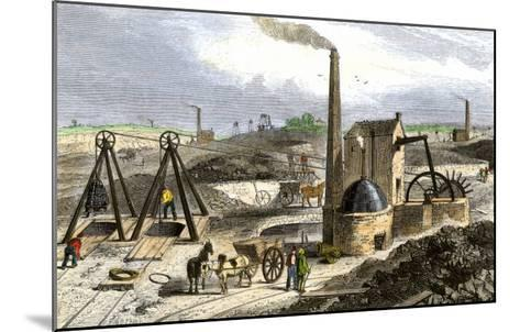 Whimsey Engine Drawing Coal in the Staffordshire Mines, England, c.1850--Mounted Giclee Print