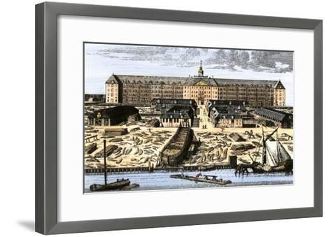 Dutch East India House in Amsterdam, Showing Warehouses and Shipyard--Framed Art Print