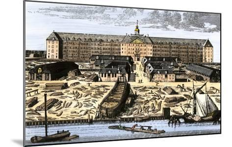 Dutch East India House in Amsterdam, Showing Warehouses and Shipyard--Mounted Giclee Print