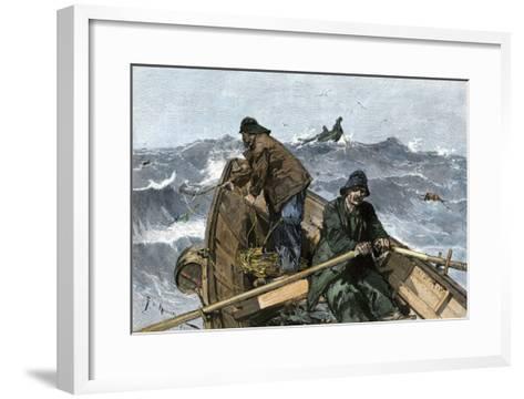 Fishermen in a Dory on the Grand Banks Off Newfoundland, c.1880--Framed Art Print