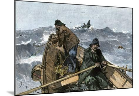 Fishermen in a Dory on the Grand Banks Off Newfoundland, c.1880--Mounted Giclee Print