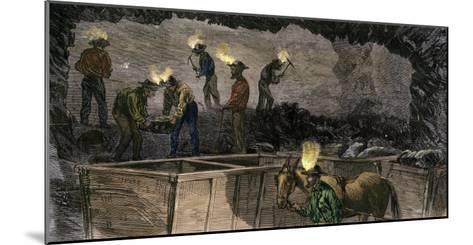 Miners Digging and Loading Coal Into an Underground Mule-Drawn Cart in Pennsylvania, c.1860--Mounted Giclee Print