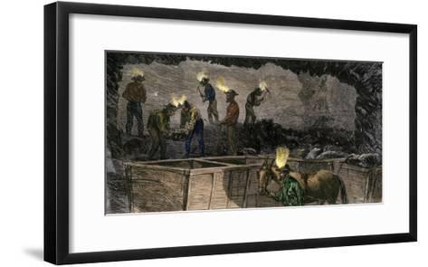 Miners Digging and Loading Coal Into an Underground Mule-Drawn Cart in Pennsylvania, c.1860--Framed Art Print