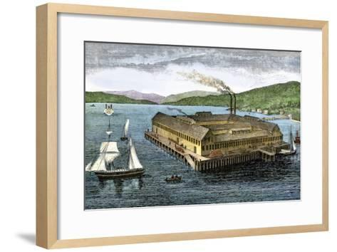 Salmon Cannery on the Pacific Coast at Astoria, Oregon, c.1880--Framed Art Print