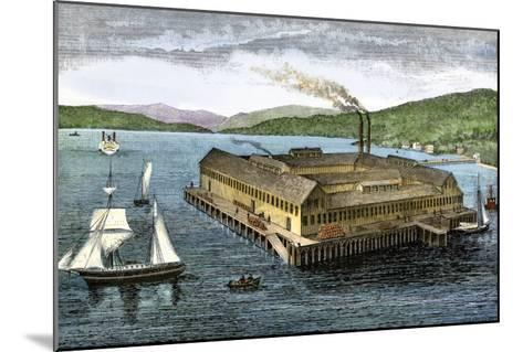 Salmon Cannery on the Pacific Coast at Astoria, Oregon, c.1880--Mounted Giclee Print