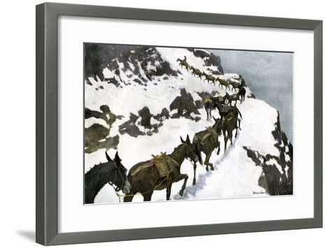 Mule Train Going to the Silver Mines of Colorado--Framed Art Print