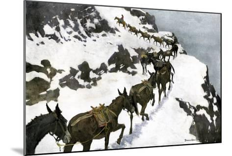 Mule Train Going to the Silver Mines of Colorado--Mounted Giclee Print