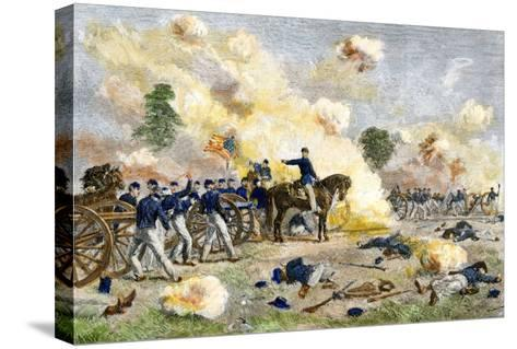 Fourth U.S. Artillery under Lt. Bayard Wilkeson during the Battle of Gettysburg, c.1863--Stretched Canvas Print