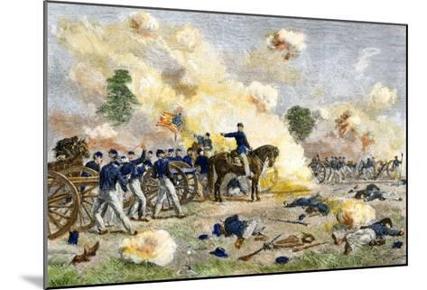 Fourth U.S. Artillery under Lt. Bayard Wilkeson during the Battle of Gettysburg, c.1863--Mounted Giclee Print