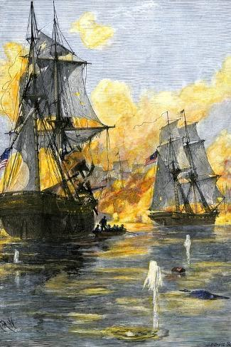 U.S. Fleet of Oliver H. Perry during His Naval Victory over the British on Lake Erie in 1813--Stretched Canvas Print
