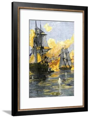 U.S. Fleet of Oliver H. Perry during His Naval Victory over the British on Lake Erie in 1813--Framed Art Print