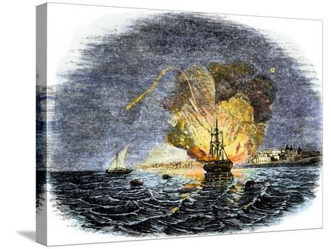 Burning of the American Ship, Philadelphia, Held by Barbary Pirates in Tripoli Harbor, c.1804--Stretched Canvas Print