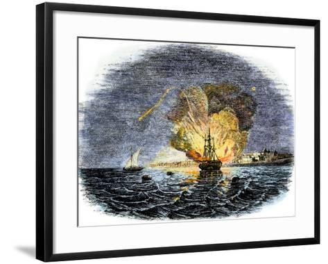 Burning of the American Ship, Philadelphia, Held by Barbary Pirates in Tripoli Harbor, c.1804--Framed Art Print