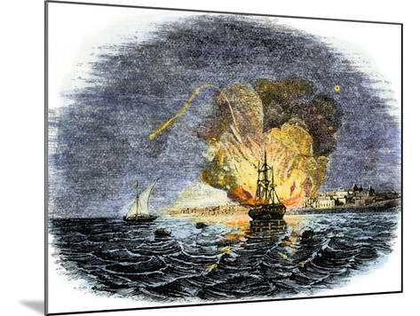 Burning of the American Ship, Philadelphia, Held by Barbary Pirates in Tripoli Harbor, c.1804--Mounted Giclee Print