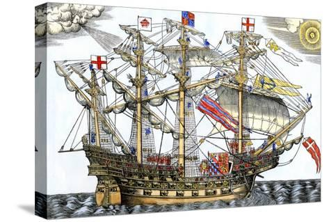 Ark Royal, the Flagship Which Led the English Fleet against the Spanish Armada, c.1588--Stretched Canvas Print
