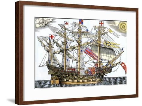 Ark Royal, the Flagship Which Led the English Fleet against the Spanish Armada, c.1588--Framed Art Print