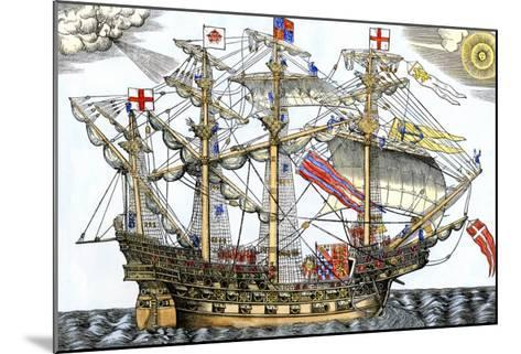 Ark Royal, the Flagship Which Led the English Fleet against the Spanish Armada, c.1588--Mounted Giclee Print
