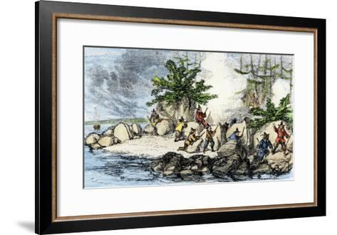 Colonists and Native Americans Battling in Tiverton, Rhode Island, during King Philip's War, c.1600--Framed Art Print