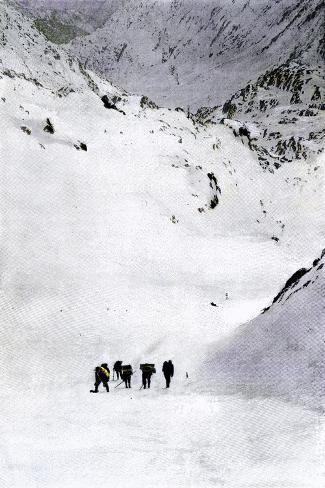 Prospectors Nearing Summit of the Chilkoot Pass during the Alaska Gold Rush, c.1897--Stretched Canvas Print