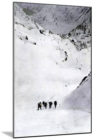 Prospectors Nearing Summit of the Chilkoot Pass during the Alaska Gold Rush, c.1897--Mounted Giclee Print