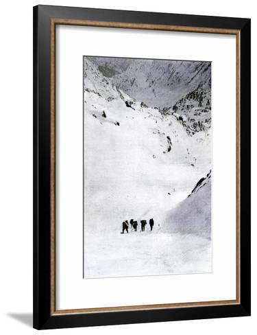 Prospectors Nearing Summit of the Chilkoot Pass during the Alaska Gold Rush, c.1897--Framed Art Print