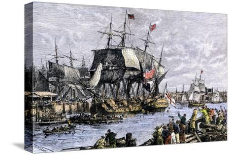 Colonial Protestors Emptying Tea during the Boston Tea Party, c.1773--Stretched Canvas Print
