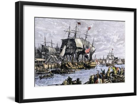 Colonial Protestors Emptying Tea during the Boston Tea Party, c.1773--Framed Art Print