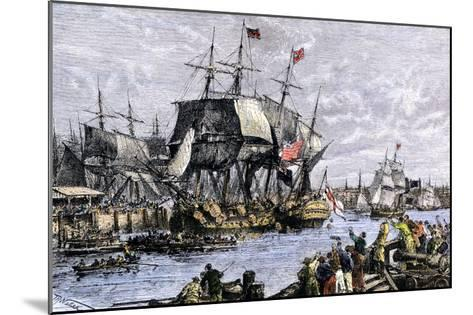 Colonial Protestors Emptying Tea during the Boston Tea Party, c.1773--Mounted Giclee Print