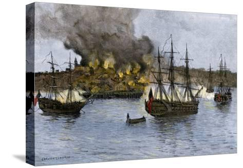 Destruction of Falmouth, Maine by Artillery Fire from British Ships, October 1775--Stretched Canvas Print
