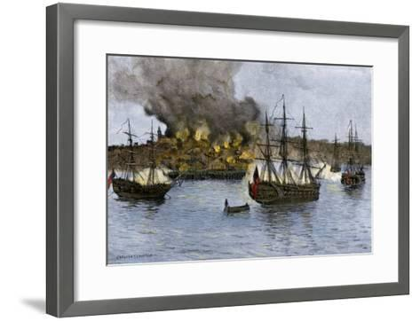 Destruction of Falmouth, Maine by Artillery Fire from British Ships, October 1775--Framed Art Print